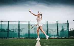 Картинка девушка, ракетка, мячик, теннис, корт, подача, Антон Харисов, Katrin Саркази