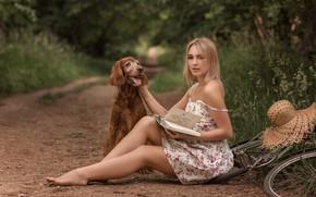 Картинка лето, трава, девушка, природа, велосипед, животное, собака, шляпа, босиком, макияж, платье, блондинка, дорожка, книга, бретелька, …