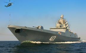 Картинка вертолёт, фрегат, Адмирал Горшков