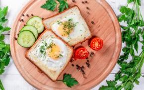 Картинка зелень, доска, яичница, овощи, помидоры, тосты, бутерброды