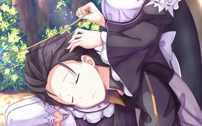 Картинка аниме, арт, спит, парень, двое, Субару, Re: Zero kara Hajimeru Isekai Seikatsu, Рем