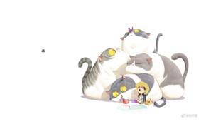 Картинка бабочка, рыбалка, рыбка, шляпа, белый фон, зевает, удочка, желтые глаза, маленькая девочка, хвосты, ведёрко, четыре …