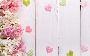 Картинка цветы, фон, сердечки, белый, wood, flower