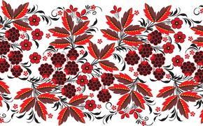Картинка листья, цветы, ягоды, узор, хохлома, ежевика
