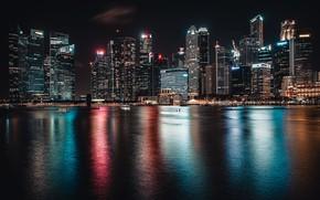 Картинка ночь, город, огни, Сингапур