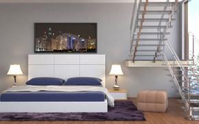 Картинка дизайн, кровать, интерьер, спальня