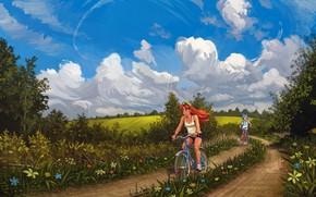 Картинка лето, деревья, поля, майка, рыжая, цветочки, каникулы, берет, голубое небо, Cirno, грунтовая дорога, на велосипедах, …