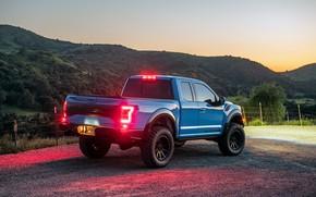 Картинка закат, фары, Ford, вечер, Raptor, пикап, F-150, Hennessey, 2019, VelociRaptor V8