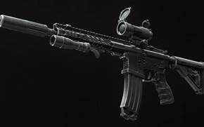 Обои рендеринг, оружие, фонарик, винтовка, weapon, render, глушитель, custom, м16, ar-15, assault rifle, m16, assault Rifle, ...