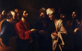 Картинка картина, история, мифология, Бартоломео Манфреди, Bartolomeo Manfredi, Дань Цезарю