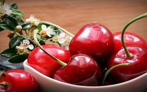 Картинка макро, ягоды, вишни, черешни