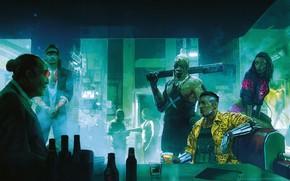Обои Рисунок, Город, Игра, Неон, Люди, Арт, Киборг, CD Projekt RED, Cyberpunk 2077, Киберпанк, Cyberpunk, Киберпанк ...