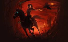 Картинка Девушка, Лошадь, Ворон, Girl, Конь, Смерть, Hell, Цепи, Коса, Death, Ворона, Horse, Angel of Death, …