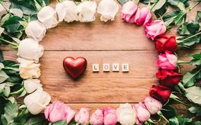 Обои любовь, сердце, розы, красные, red, love, white, heart, pink, flowers, romantic, roses