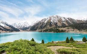 Картинка зелень, лес, небо, облака, снег, горы, озеро, голубое, берег, склоны, вершины, ели, кусты, водоем, ёлочки