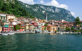Картинка горы, озеро, дома, Италия, Комо, Варенна