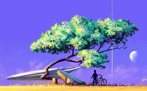 Картинка Дерево, Мальчик, Корабль, Силуэт, Sky, Арт, Art, Фантастика, Roman Avseenko, by Roman Avseenko