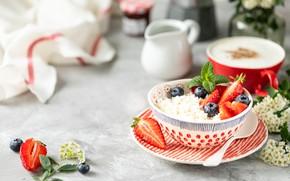 Картинка ягоды, кофе, черника, сливки, клубника, мед, творог