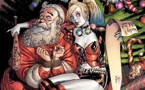 Картинка fantasy, Christmas, comics, elf, artwork, superhero, Christmas tree, Santa Claus, fantasy art, decorations, DC Comics, …