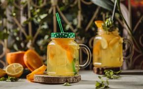 Картинка лимон, апельсин, банки, лимонад
