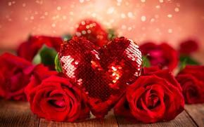 Картинка фон, розы, лента, красные, сердечко, день святого валентина