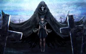 Картинка девушка, смерть, тьма, кресты