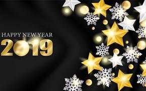 Картинка золото, Новый Год, цифры, golden, черный фон, black, background, stars, New Year, Happy, sparkle, 2019