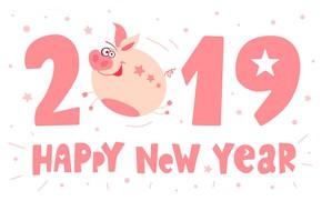 Картинка праздник, Новый Год, цифры, постер, 2019