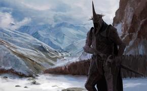 Картинка Король-чародей Ангмара, Назгул, J.R.R. Tolkien, Ангмарские горы, Повелитель Ужаса, Чёрный Предводитель