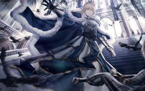 Картинка девушка, лестница, рыцари, холл, Saber, сейбер, Fate / Grand Order, Судьба великая кампания