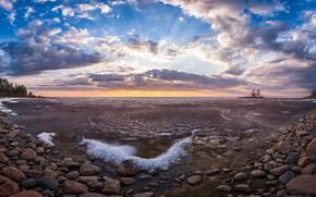 Картинка закат, природа, озеро, берег