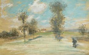Картинка картина, Jean-Francois Raffaelli, Жан-Франсуа Рафаэлли, Пейзаж с Крестьянином на Дороге