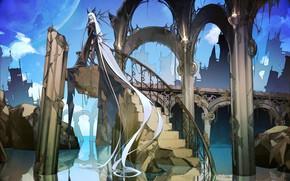 Картинка девушка, волосы, аниме, арт, руины