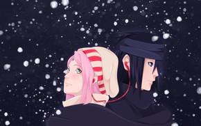 Картинка Наруто, Naruto, Саске Учиха, Сакура Харуно