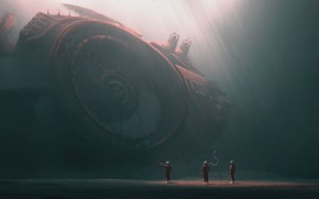 Картинка Скафандр, Планета, Космос, Люди, Свет, Космонавт, Space, Landscape, Discovery, Planet, Фантастика, Обломки, Environment, Science Fiction, …
