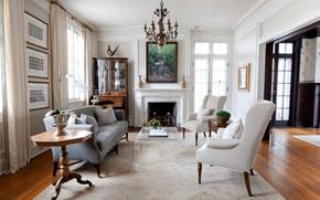Картинка интерьер, камин, гостиная