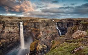 Картинка пейзаж, природа, скалы, красота, каньон, водопады, струи воды