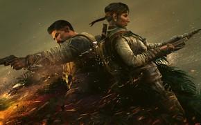 Картинка пистолет, оружие, огонь, костер, солдаты, бойцы, спецназ, ubisoft, гарпун, Amaru, Tom Clancy's Rainbow Six Siege, …