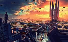 Картинка город, фантастика, человек