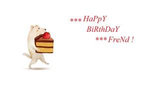 Картинка щенок, белый фон, поздравление, happy birthday, кусок торта, клубничный торт