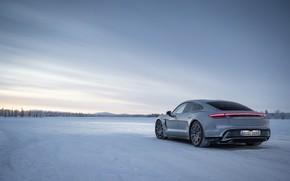 Картинка холод, зима, снег, серый, Porsche, 2020, Taycan, Taycan 4S