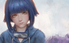 Картинка взгляд, рисунок, девочка, Наруто, Naruto, Хината Хьюго