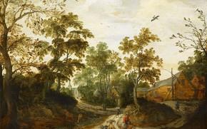 Картинка пейзаж, масло, картина, 1623, Willem van den Bundel, Окраина деревни