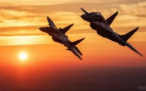 Картинка Закат, Небо, Облака, Истребитель, Миг-29, ВВС Польши, HESJA Air-Art Photography
