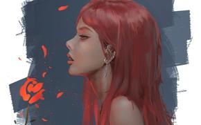 Картинка пирсинг, серёжка, красные волосы, в профиль, Leina, портрет девушки, Ghost Blade, шея плечи, Призрачный Клинок, …