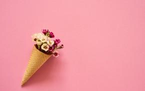 Картинка цветы, фон, розовый, букет