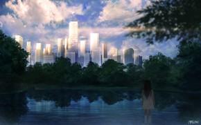 Картинка город, озеро, девочка