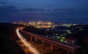 Картинка дорога, ночь, город, огни