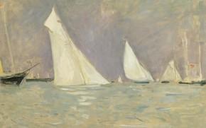 Картинка море, картина, парус, Поль Сезар Эллё, Paul Cesar Helleu, Парусники Плавающие в Коузе