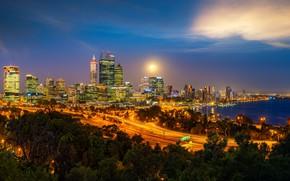 Картинка ночь, город, огни, здания, дома, небоскребы, вечер, Австралия, сумерки, Перт